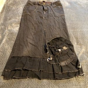 Upcycled ruffled denim skirt